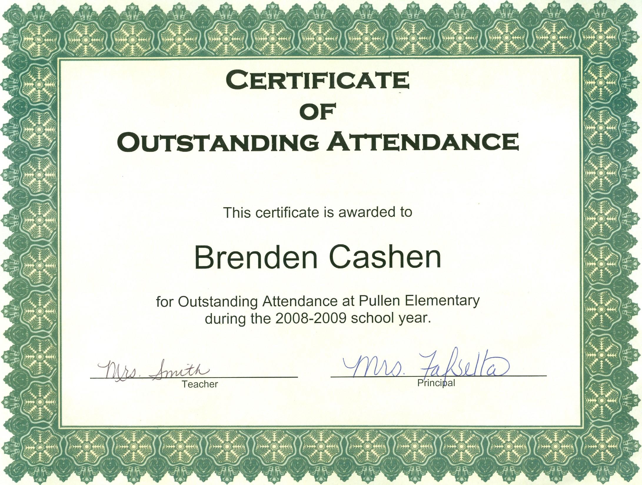 Perfect Attendance Certificate Template Free | New Calendar Template ...